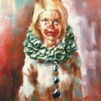 PIERROT DAL COLLETTO VERDE, Oil on canvas, cm 50X40, 1977 ■