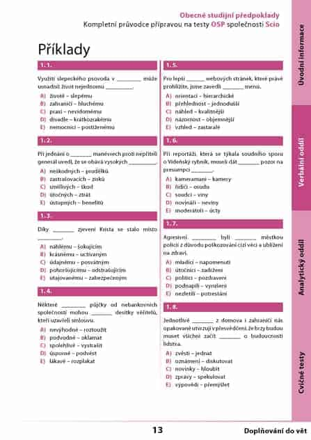 úlohy verbálního oddílu na testy OSP Scio