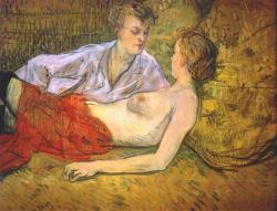 Dvě přítelkyně. Henri de Toulouse-Lautrec,Les deux amies(vers 1895).