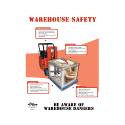 Warehouse Safety, Beware of Dangers Poster