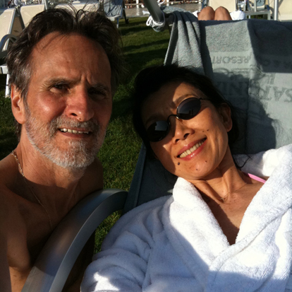 Shantidharm and Deepa relaxing at a Spa in Tuscany, April 2011