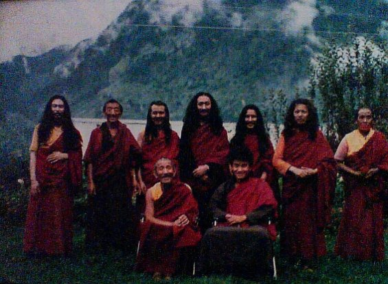 Immi and Sey Rinpoche with some lamas who have completed the retreats