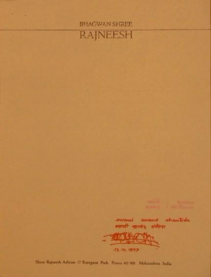 Sannyas letter front