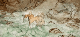 A monk carries a woman across the river