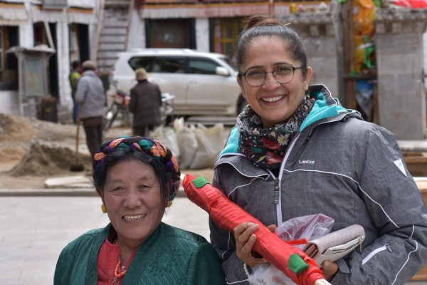 Urvashi and new friend at Drigung Thil Monastery