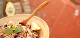 Quinoa roasted beetroot walnut mint salad