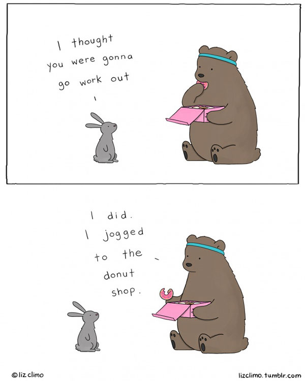 working out - cartoon by Liz Climo