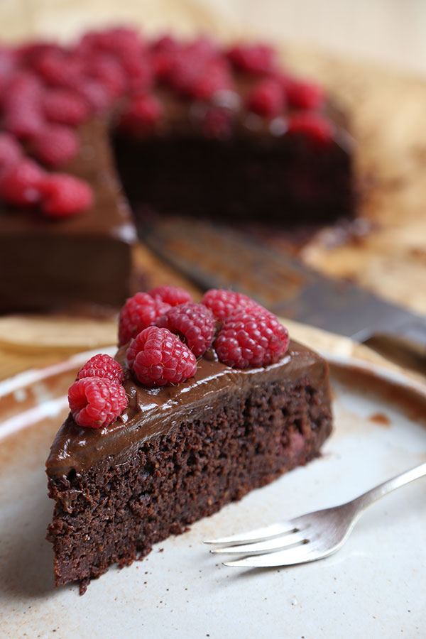 Chocolate Beetroot Cake with Raspberries and Avocado Chocolate Icing
