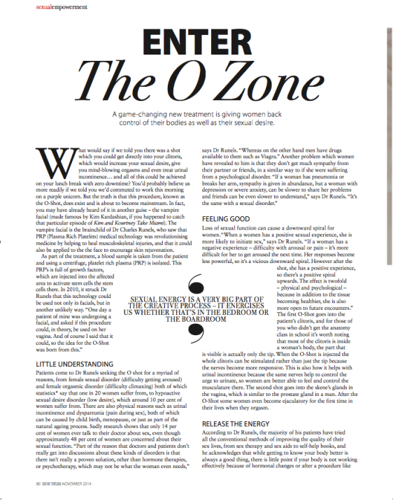 Tatler Article about O-Shot Page 1