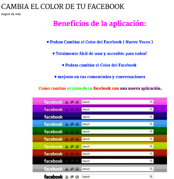 Captura de pantalla fraudulenta que promete cambiar color Facebook