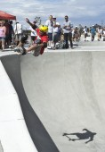 Professional Skateboarder, Andy Macdonald tries out one of the bowls