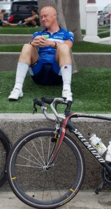 Anders Tesgaard of Denmark  relaxes, with a wounded shin, before the start of RAAM