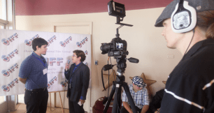 Streling Anno interviews young filmmaker Jarod Bainbridge with J.C. Sutherlin behind the camera