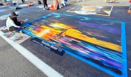 """Noni Andalis has been working with chalk for one year. """"I REALLY like color"""" said Noni."""