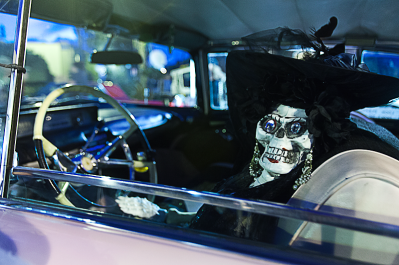 The carpool lane companion at the wheel of a 1957 Lincoln Premiere on display at the market