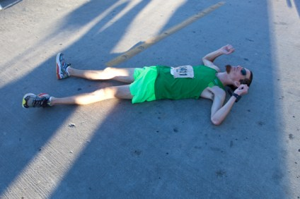 Ryan Vilas takes a breather after the 5 mile run