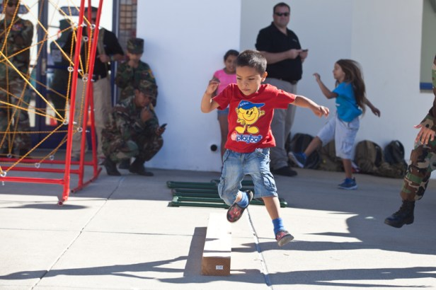 Ethan, 5 of Oceanside on obstacle course