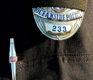 Mourning badge on Oceanside Police Shield. (courtesy photo)