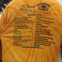 A list of Beach Fun Day sponsors printed on the event t-shirts (click on image to enlarge photo)