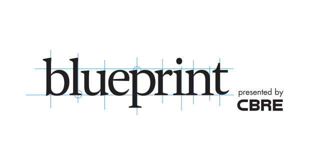 "CBRE Magazine, ""Blueprint"" logo"