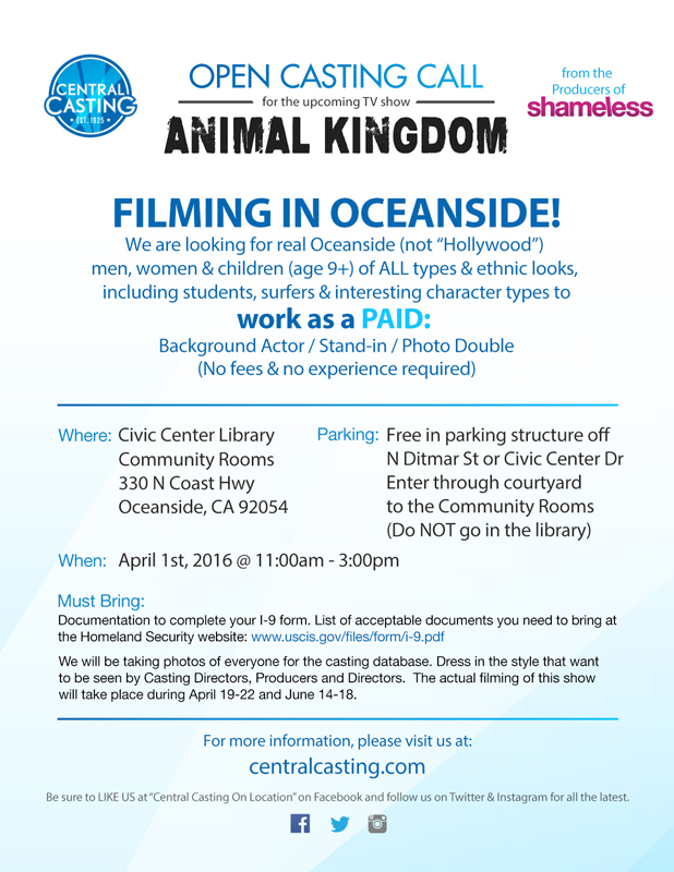 Casting call for crime drama filmed in Oceanside  Note that they