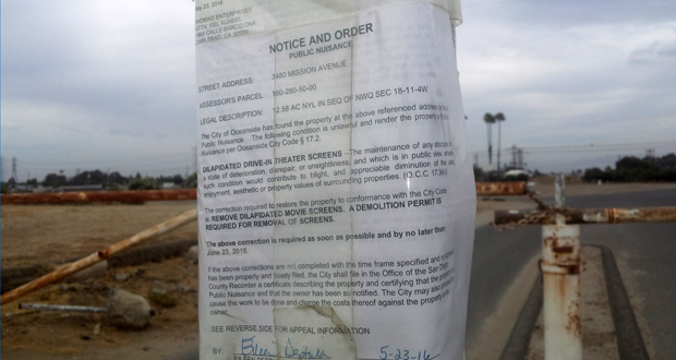 The Notice and Order posted May 23, 2016 on a sign post at the Drive-in .west gate.