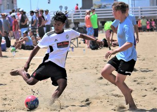 Alexis Trujillo goes for goal at the North American Sand Soccer Championships.