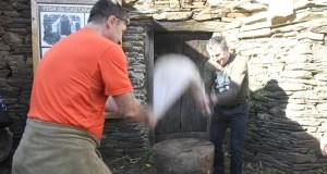 Froxán festexa a pisa da castaña seca
