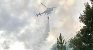 Imaxes da extinción do incendio en Valdegodos