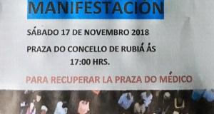 Rubiá sairá á rúa o 17 de novembro en defensa da segunda praza de médico do Centro de Saúde