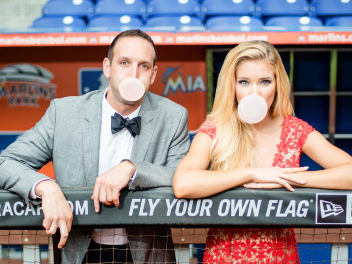 BASEBALL ENGAGEMENT SHOOT |  MIAMI ENGAGEMENT PHOTOGRAPHER | MARLINS STADIUM