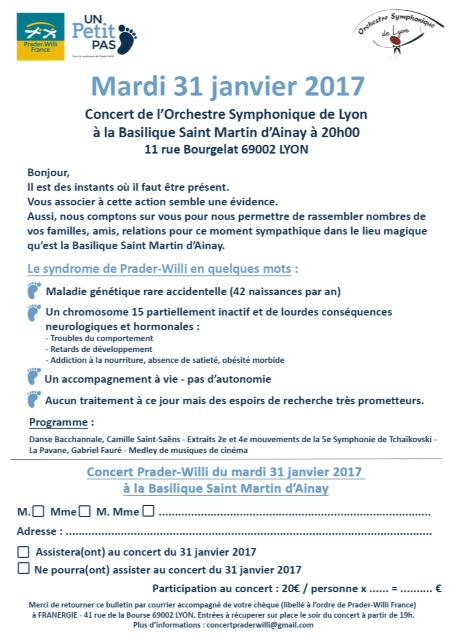 Bulletin de participation Concert OSL Prader Willi - 31 Janvier 2017