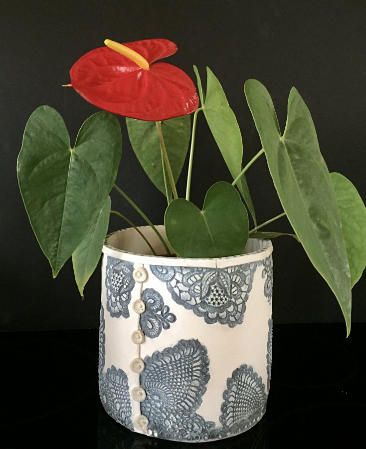 Anna Binns - Lace Button Planter