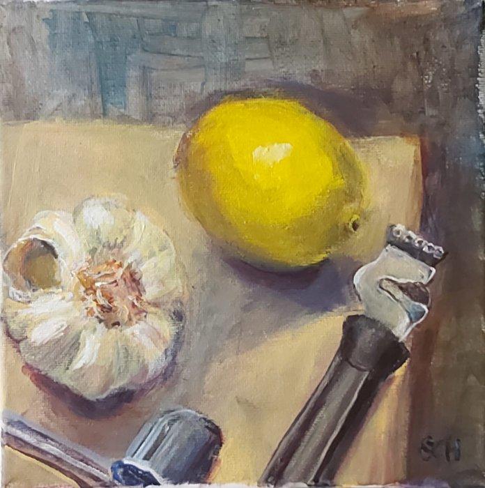 Press an Zester, Acrylic on Canvas, £95 - SARAH NESBITT