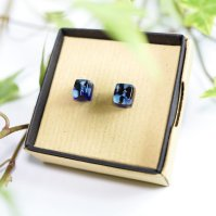 Emma Mayle Stopped Clock Glass - Blue cube stud earrings