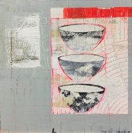 Gill Edwards, Three bowls, Acrylic and collage on board, 40 x 40cm, £395