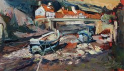 Susan Isaac - The Footbridge & Boats at Staithes Img_0980-700