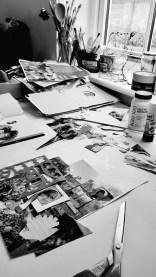 Mandy Bray - studio bench, collage