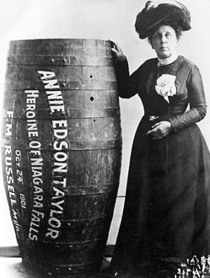 Annie Taylor first person to travel down the Niagara Falls in a barrel.