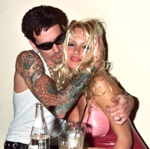 Tommy Lee and Pamela Anderson during Hard Rock Cafe Opening Night Party at Hard Rock width=