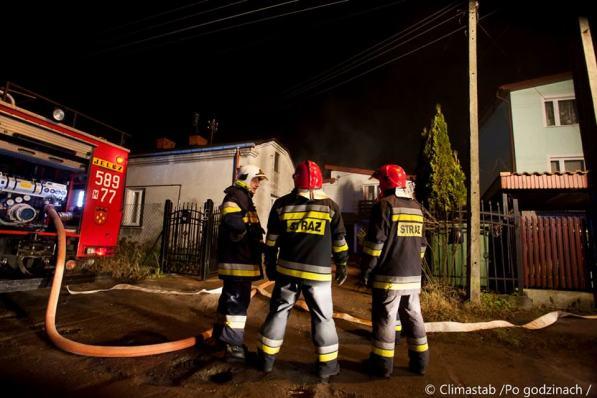 Pożar poddasza na ul. Ożarowskiej w Piastowie