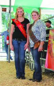 The 2012 Harvest Queen, Kallee Cook, and Hillsborough County Cattlemen's Sweetheart, Chrissy Grimmer, pose for a photo opportunity at last year's county fair.