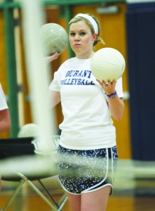 Durant volleyball coach, Brittany Wilson-Wade, keeps a close eye on the team, just days before the girls won this years Academy of the Holy Names Volleyball Invitational Tourney.