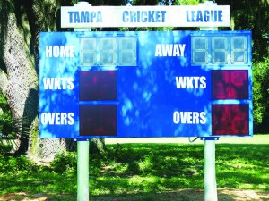 CricketNew, electronic scoreboard for Tampa Cricket League at Hillsborough County's Evans Park