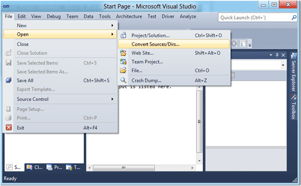 Figure 2 - Converting Inside of Visual Studio