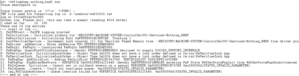 Figure 2 -- Gee... I wonder why my call to WdfIoQueueCreate failed?