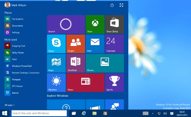 Figure 4-- Windows 10 Start Menu (image courtesy BetaNews.com)