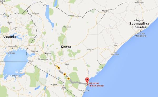 Mijomboni è a circa 500 km da Nairobi