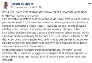 Mediterranea querela il Sindaco Di Stefano