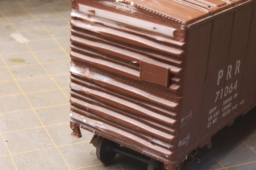 PRR X43 box car end stripped of details.